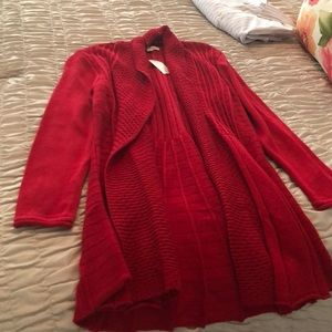 Red Open Cardigan/Sweater